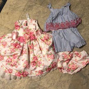 Little Me 18m dress and romper lot